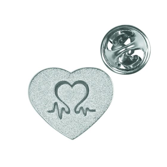 British Heart Foundation Charity Silver Heart Pin Badge