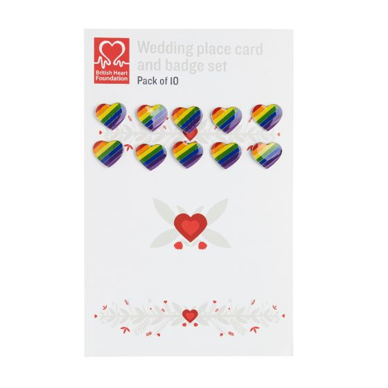 Pack of 10 Wedding Favour cards and Pride Badge set