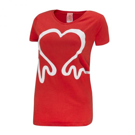 Heartbeat V-Neck T-Shirt, Women's, Red