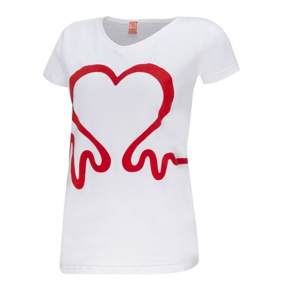 Heartbeat V-Neck T-Shirt, Women's, White