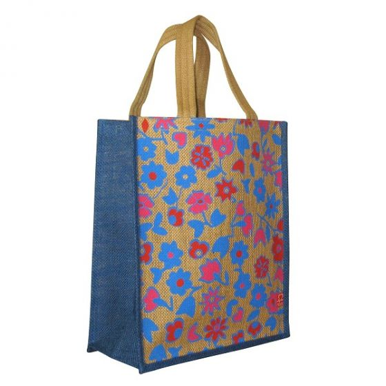 Cobalt Floral Jute Bag