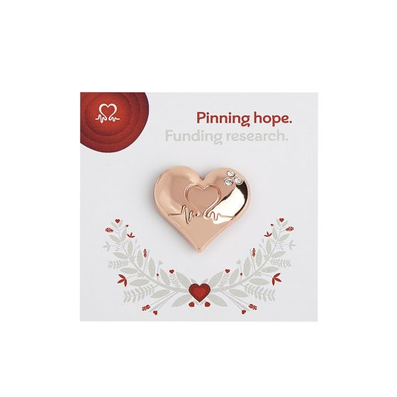 Wedding Favour Rose Gold Heart Pin Badge