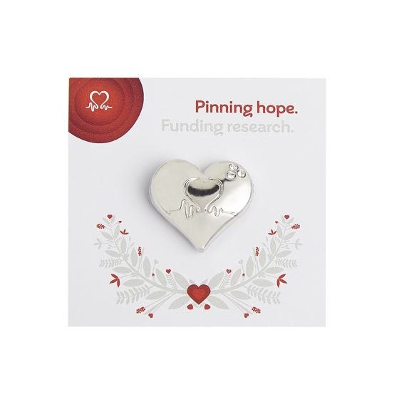 Wedding Favour Silver Heart Pin Badge