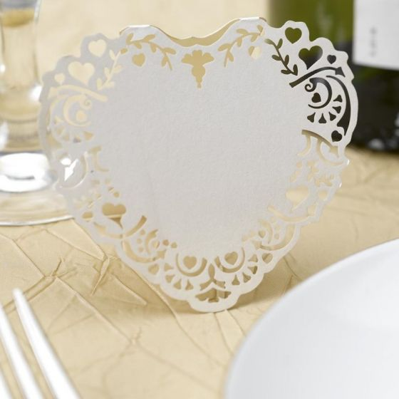 Vintage Romance Ivory Wedding Place Card - Pack of 10