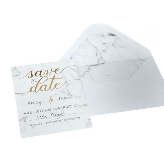 Scripted Marble Pack of 10 Save the Date Cards with Envelopes