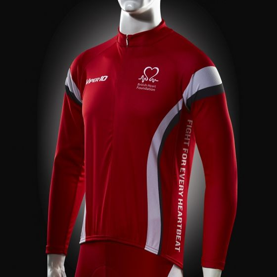 Cycling Jersey, Red White Grey, Long-sleeve, Men's