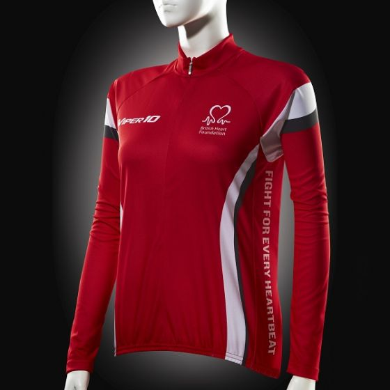Cycling Jersey, Red White Grey, Long-sleeve, Women's