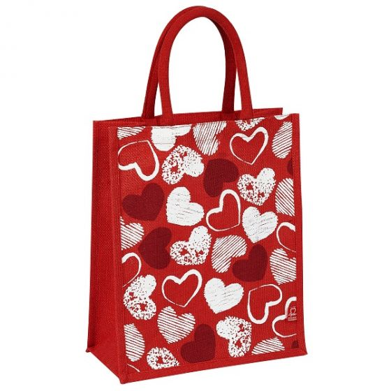 Red Hearts Jute Bag