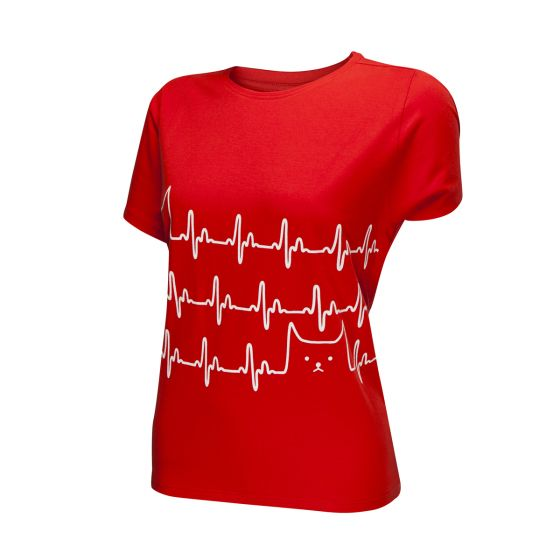 Heartbeat with Cat T-Shirt, Ladies