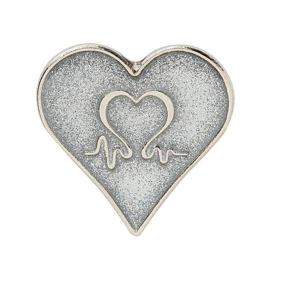 Silver Finish Glitter Heart Pin Badge