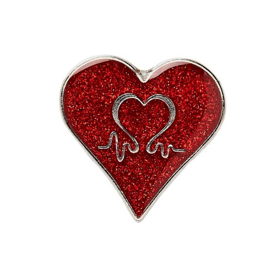 Red Glitter Heart Pin Badge