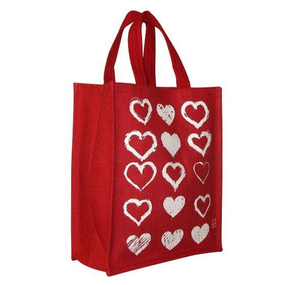 Red & White Hearts Jute Bag