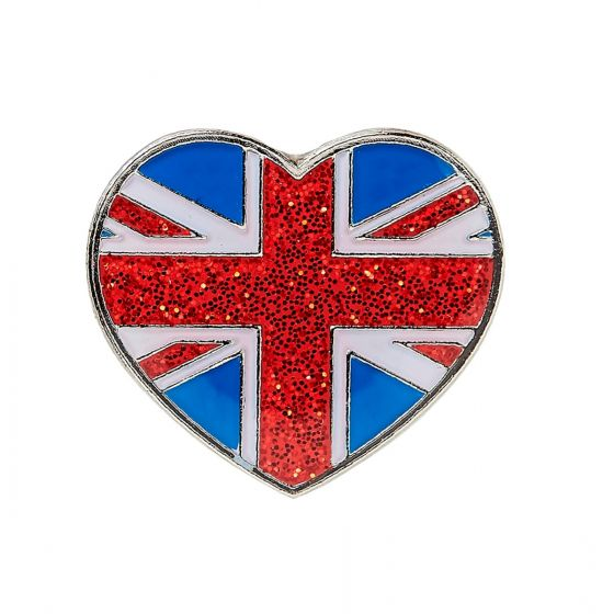 Union Jack Glitter Pin Badge