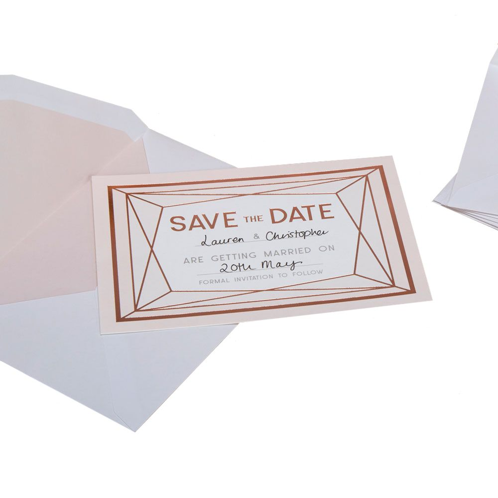 Geo Blush Pack Of 10 Save The Date