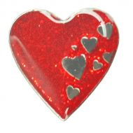 Image for Wear It. Beat It. Red Glitter Pin Badge
