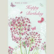 Flowers and Butterflies Birthday Card