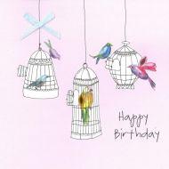 Coloured Birds Birthday Card