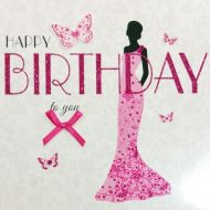 Pink Glitter Dress Birthday Card