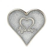 Image for Silver Finish Glitter Heart Pin Badge