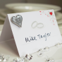 Pack of 10 Wedding Favour Cards and Silver Glitter Badge Set