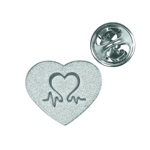 Image for British Heart Foundation Charity Silver Heart Pin Badge