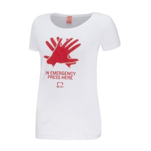 Image for In Emergency Press Here T-Shirt, Women's, White
