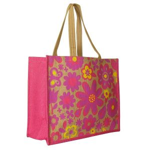 Image for Large Pink Floral Jute Bag