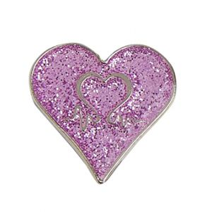 Pink Sparkle Heart Pin Badge
