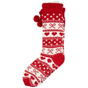 Fair Isle Pom Pom Slipper Sock