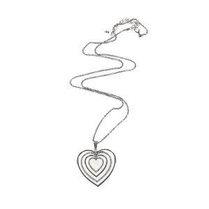 Four Heart Diamante Silver Necklace