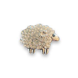 Diamante Silver Sheep Brooch