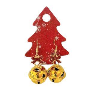 Gold Bell Christmas Earrings
