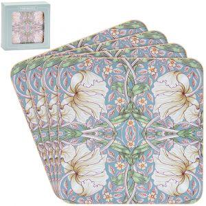 William Morris Pimpernel Print Coasters - set of 4