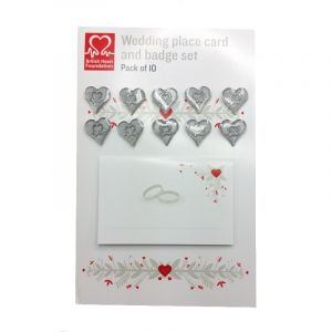 Wedding Favour Card and Silver Glitter Pin Badge