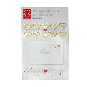 Wedding Favour Card and Gold Glitter Pin Badge