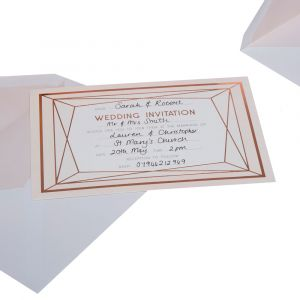 Geo Blush Pack of 10 Wedding Invites with Envelopes