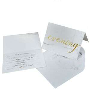 Scripted Marble Pack of 10 Evening Invites with Envelopes