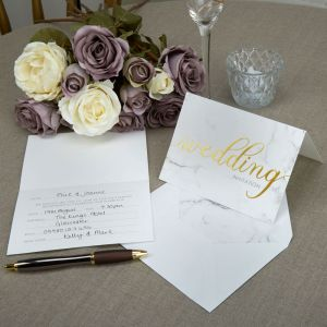 Scripted Marble Pack of 10 Wedding Invites with Envelopes