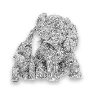 Silver Glitter Elephant and Calf