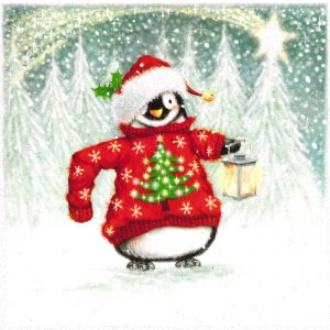 Penguin in Christmas Jumper Christmas Cards