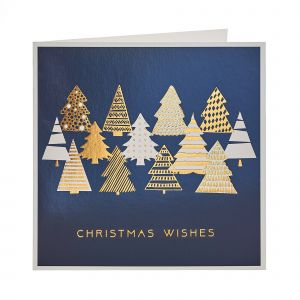 Copper Foil Trees Christmas Cards open