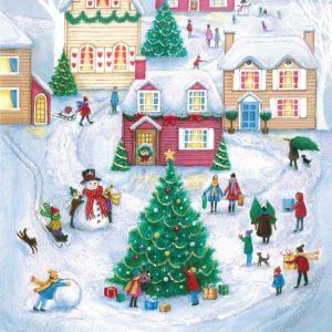 Ice Skating around the Christmas Tree Christmas Cards