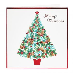 Merry Christmas Pine Cone Tree Christmas Cards open
