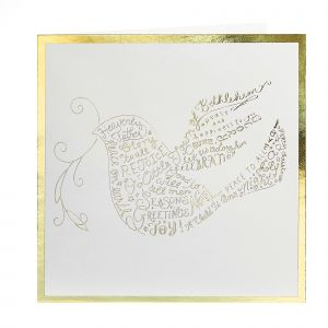 Gold Foil Dove Christmas Cards open