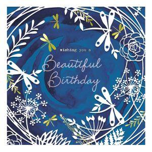 Navy Laser Cut Birthday Dragonflies Card