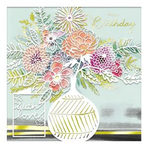 Mint Laser Cut Birthday Bouquet Card