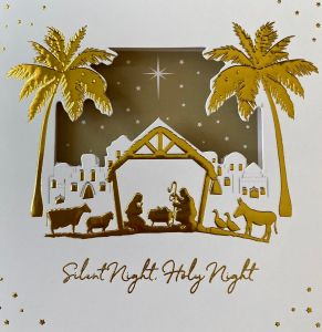 Cut Out in a Manger Christmas Cards
