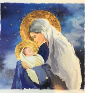 Blue Madonna and Child Christmas Cards