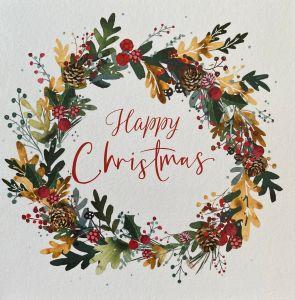 Happy Christmas Wreath Christmas Cards