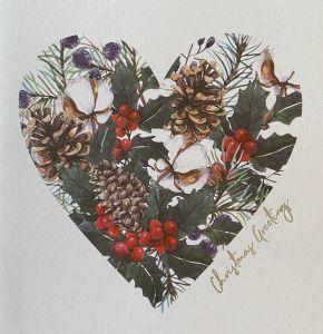 Winter Foliage Heart Christmas Cards